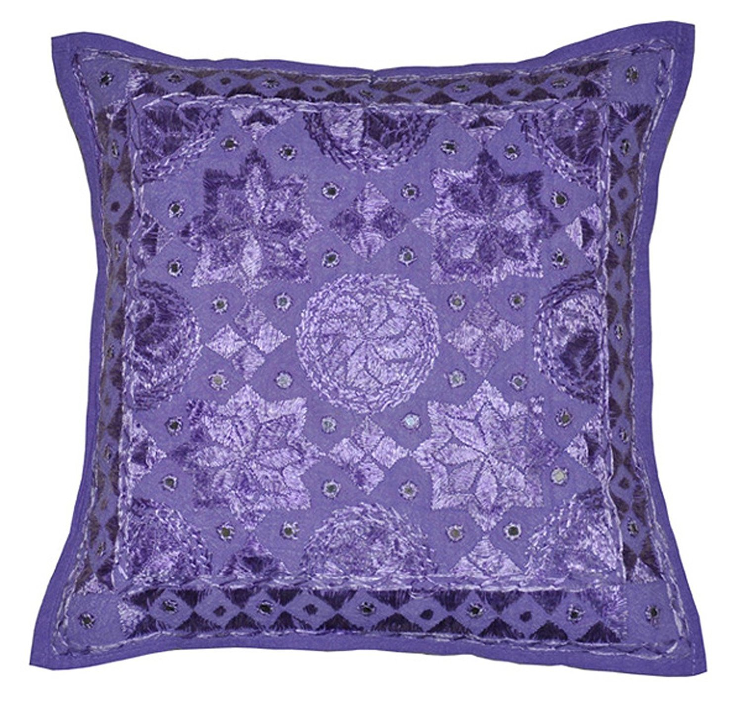 Indian Embroidery Work Handmade Cotton Pillow Case, Mirror Cushion Cover, Decorative Sofa Boho Chic Bohemian Pillow Throw (16x16) inch (Purple) Sophia Art