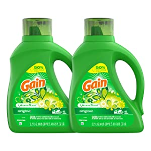 Gain Laundry Detergent Liquid Plus Aroma Boost, Original Scent, HE Compatible, 75 oz, Pack of 2, 96 Loads Total