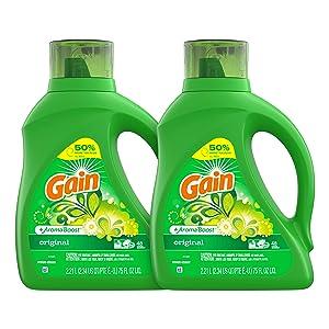 Gain Laundry Detergent Liquid Plus Aroma Boost, Original Scent, HE Compatible, 75 oz, Pack of 2, 96 Loads Total