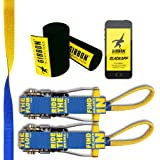 """Gibbon Slacklines Flowline with treewear, Yellow/Blue, 82ft (74 ft line + 8ft Ratchet Strap with Reinforced Loop) 1"""" line, 2"""
