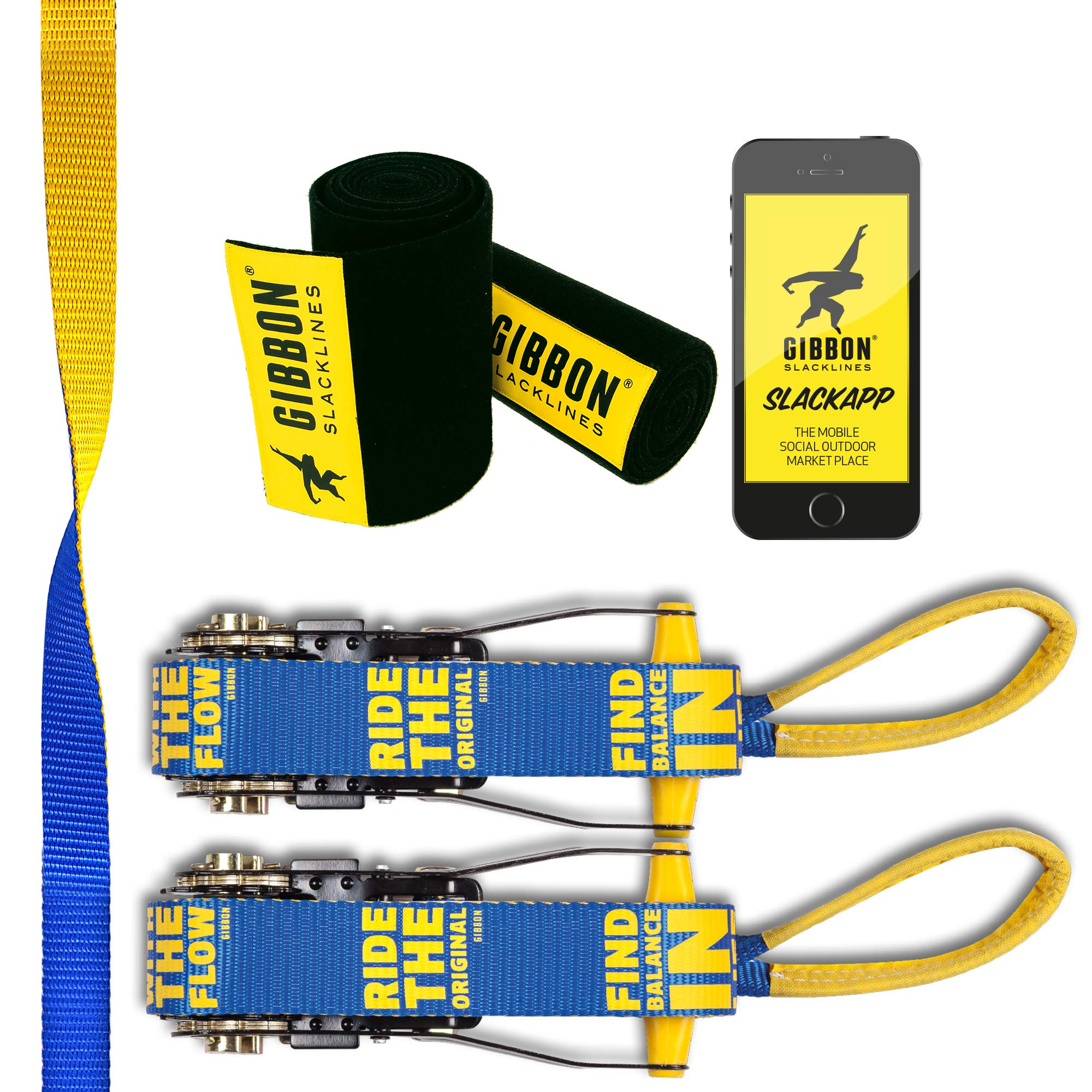 Gibbon Slacklines Flowline with treewear, Yellow/Blue, 82ft (74 ft line + 8ft Ratchet Strap with Reinforced Loop) 1'' line, 2 x 2 Ratchet Straps of 2.5m Length, Tree and line Protection (Black Felt) by Gibbon Slacklines