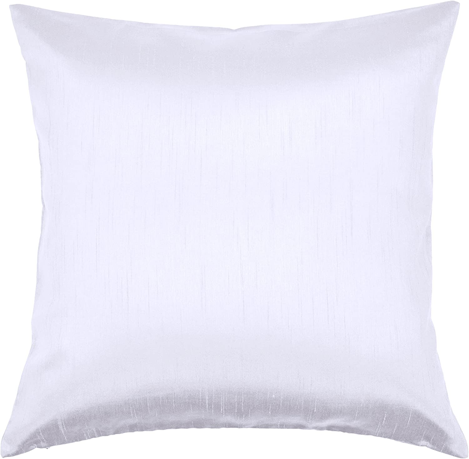 Aiking Home Solid Faux Silk Euro Sham/Pillow Cover, Zipper Closure, 26 by 26 Inches, Pure White
