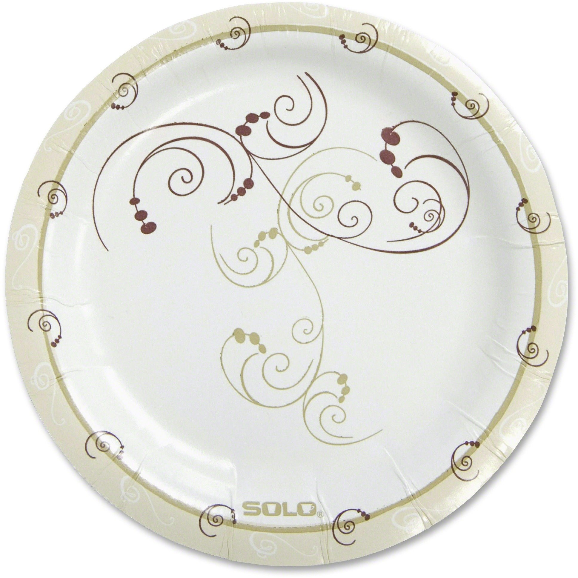SOLO CUPS MP9J8001PK Symphony Paper Dinnerware, Mediumweight Plate, 8 1/2'' Round, Tan, 125/Pack