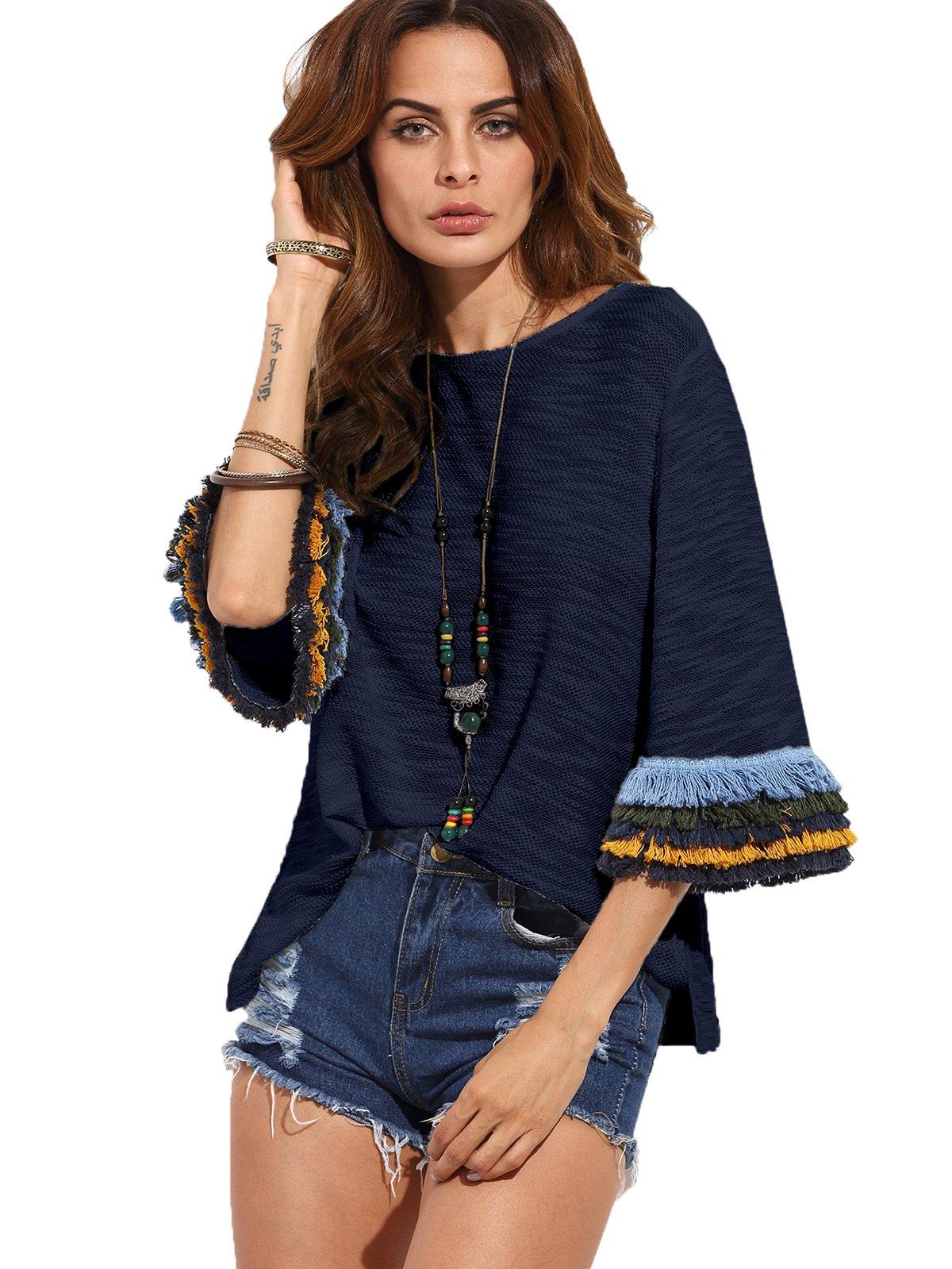 Milumia Women's 3/4 Sleeve Side Split T-Shirt Blouse Tunic Tops (Medium, Navy)