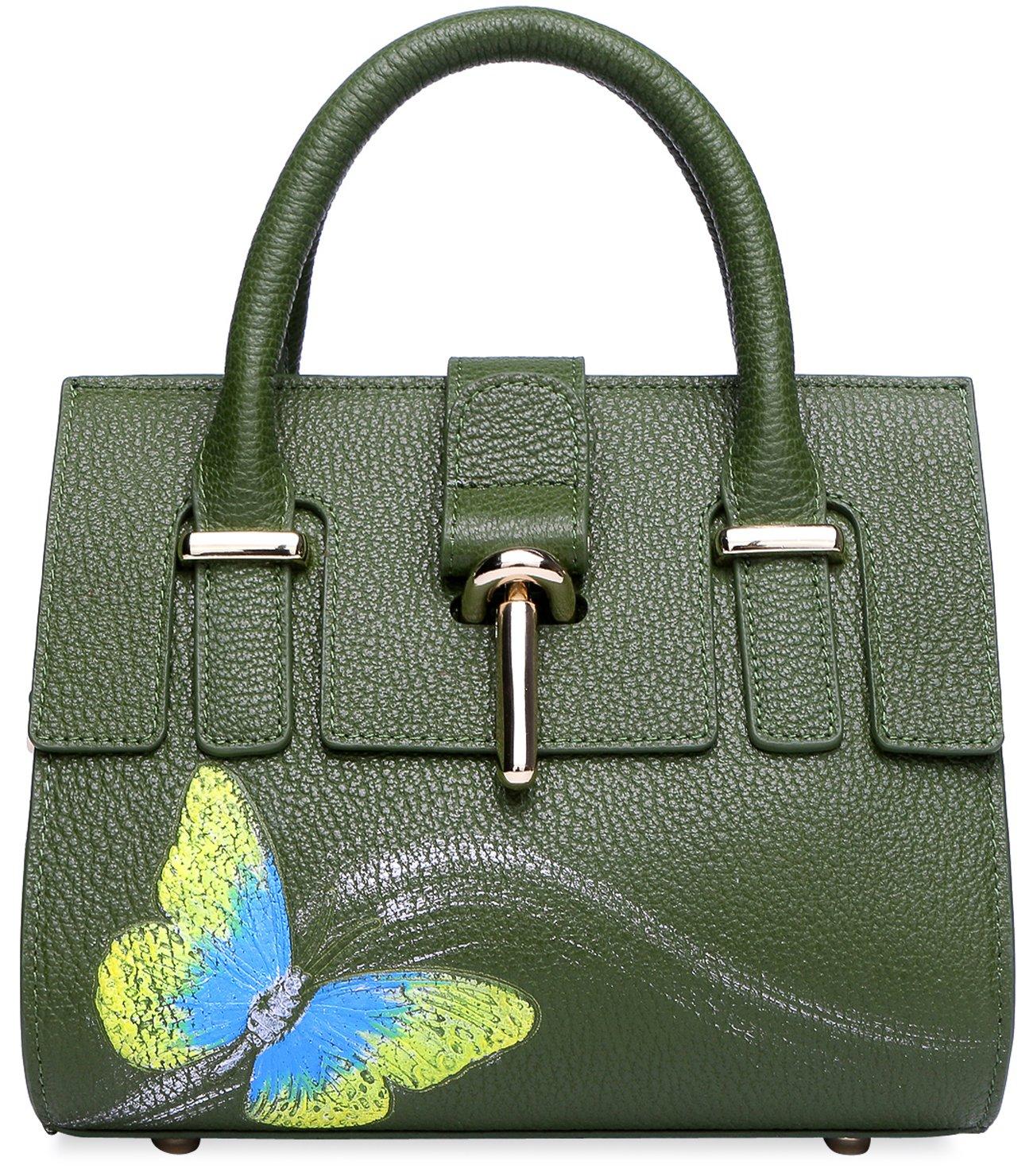 PIJUSHI Designer Shoulder Purses Women's Genuine Leather Bag CrossBody Bag Summer (8003 Green)