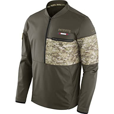 29025858dfa Nike Men s New England Patriots Shield Hybrid STS Jacket Cargo Khaki Black  Size Medium