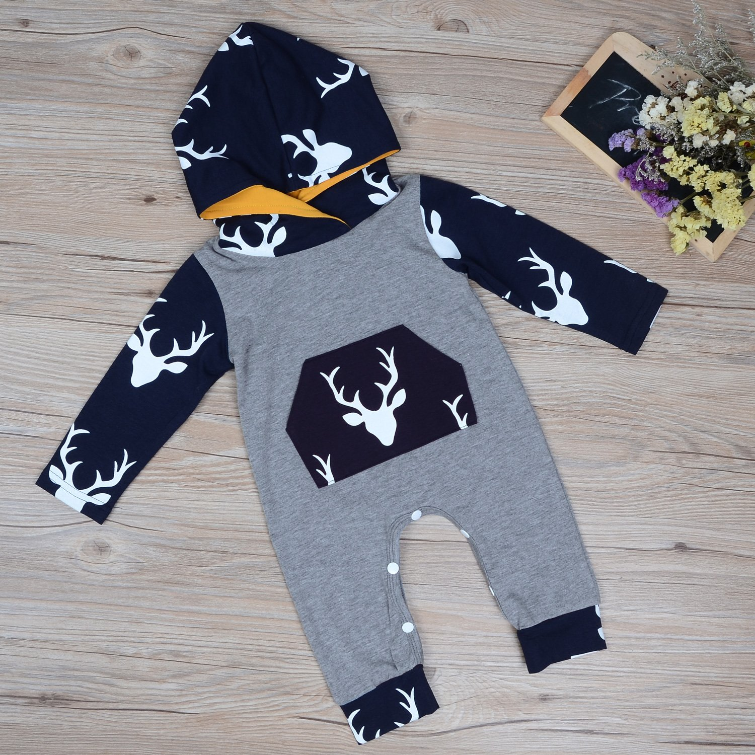 Unisex Baby Autumn Winter Hooded Sweatshirt Jumpsuit Infant Boys Girls Hoodies with Kangaroo Muff Pockets