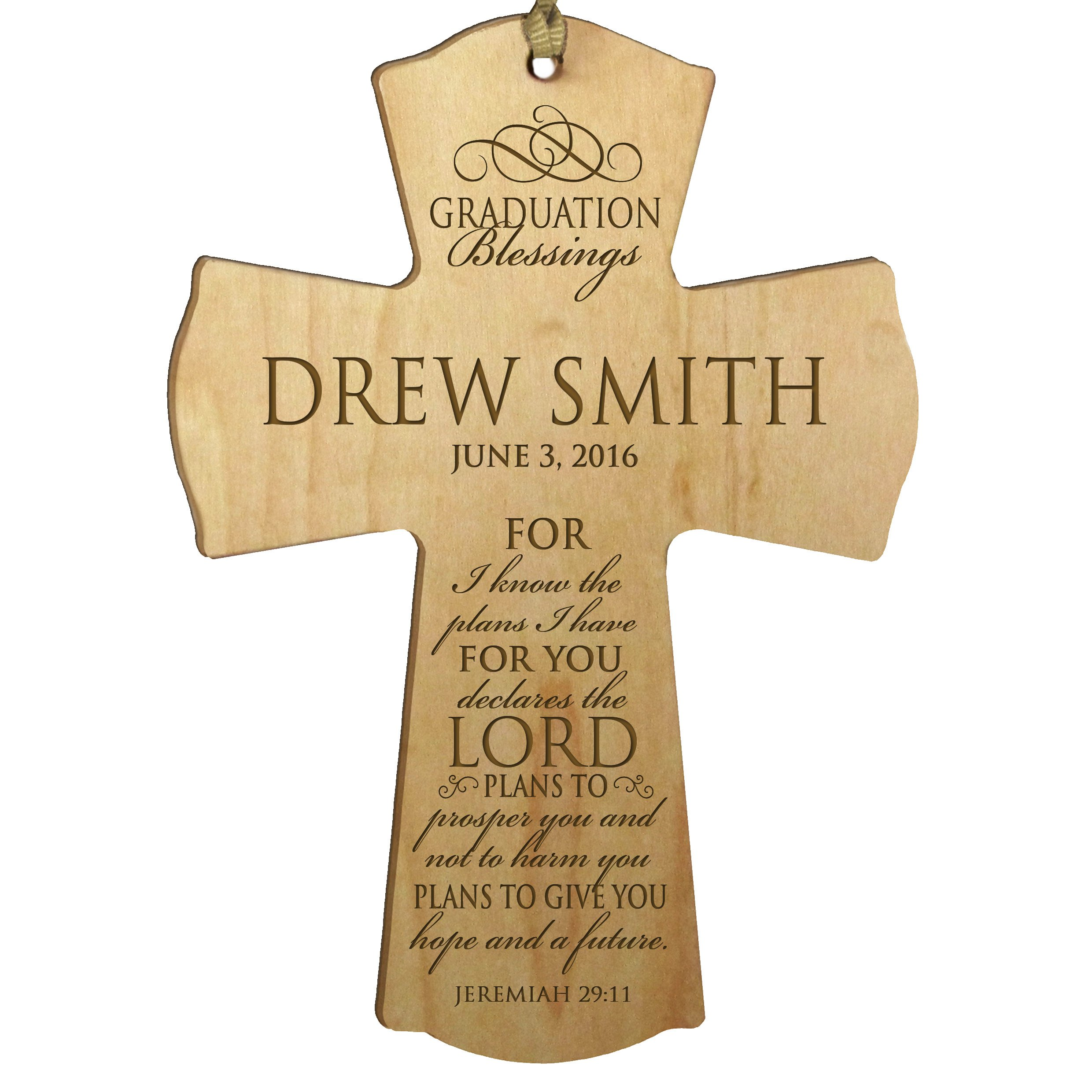 LifeSong Milestones Personalized Graduation gifts for graduate ideas for men and women custom Wall Cross For I know the plans I have FOR YOU declares the Lord Jeremiah 29:11 (4.5'' x 6'', Maple)