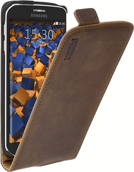 Mumbi Echt Leder Flip Case Kompatibel Mit Samsung Galaxy S6 Edge Hülle Leder Tasche Case Wallet Braun Elektronik
