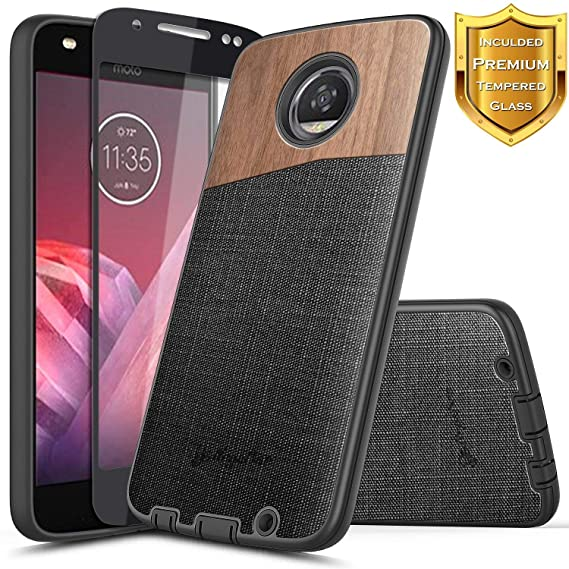 separation shoes 53178 2db3d Moto G6 Case w/[Full Cover Tempered Glass Screen Protector], NageBee  Premium Natural Wood Canvas Fabrics Armor Defender Dual Layer Shock Proof  Hybrid ...