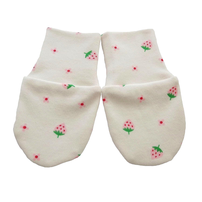 Coton Bio naissance anti Scratch Moufles Multi Couleur Fraises Multi Color 0-3 mois