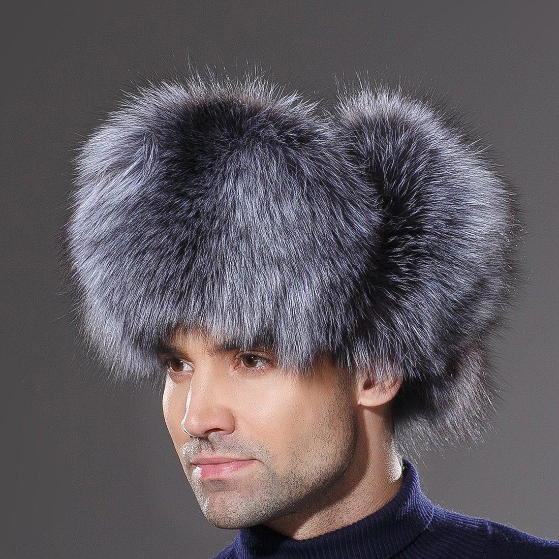 URSFUR Winter Mens Russian Ushanka Hat Real Leather & Silver Fox Fur Trapper Cap by URSFUR (Image #7)