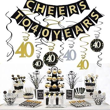 JeVenis 40.a fiesta de cumpleaños Decoración Kit Saludos a ...