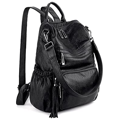 Amazon.com  UTO Women Backpack Purse PU Washed Leather Convertible Ladies  Rucksack Tassel Zipper Pocket Shoulder Bag A Black  Shoes 486a271d6990b