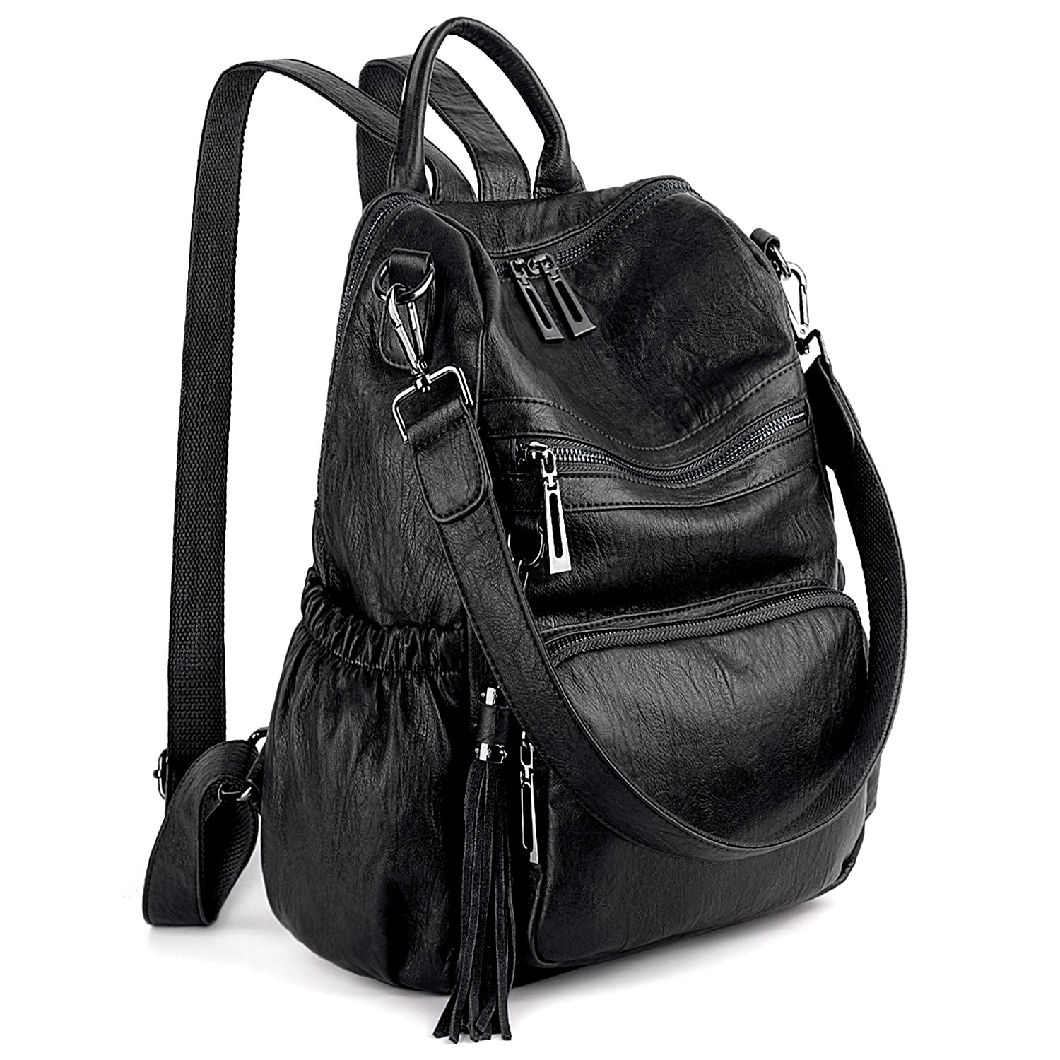 UTO Women Backpack Purse PU Washed Leather Convertible Ladies Rucksack Tassel Zipper Pocket Shoulder Bag product