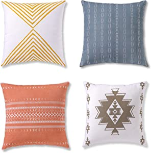Decorative Throw Pillow Covers, Cushion Cases or Pillow Cases for Couch, Sofa, Bedroom, Bohemian Pillows Set of 4 18 X 18 Inches Cushion Cover for Home Décor or Farmhouse, 100% Cotton, Reef Set