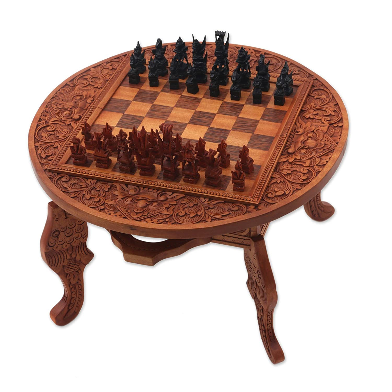Amazon NOVICA Brown Floral Wood Chess Sets Games Ramayana