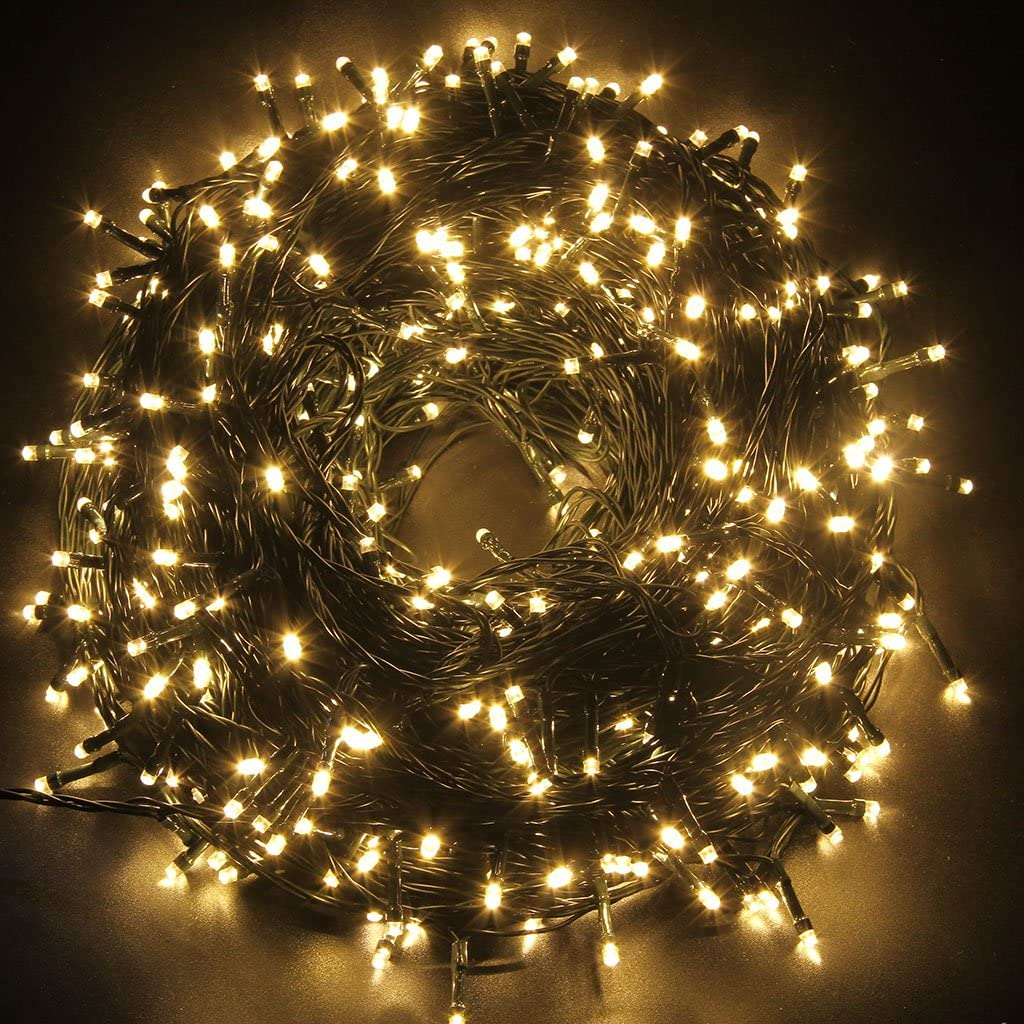 OZS-115Ft 300LED Super Bright String Lights Indoor/Outdoor, Waterproof 8 Modes (UL Certified), Green Wire Fairy Starry String Lights for Xmas Tree Garden Patio Wall Decor (Warm White}