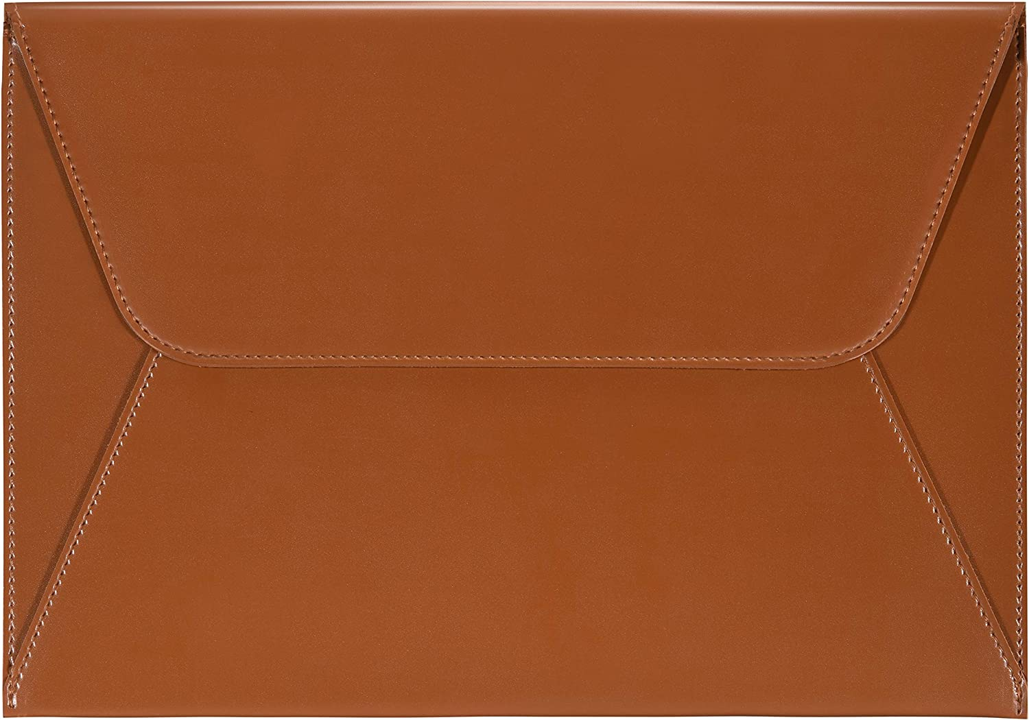 Comfyable Laptop Sleeve Compatible with 16 Inch MacBook Pro 2020 & 15-15.6 Inch Dell HP Notebook - PVC Leather Envelope Sleeve Computer Case for Mac, Brown