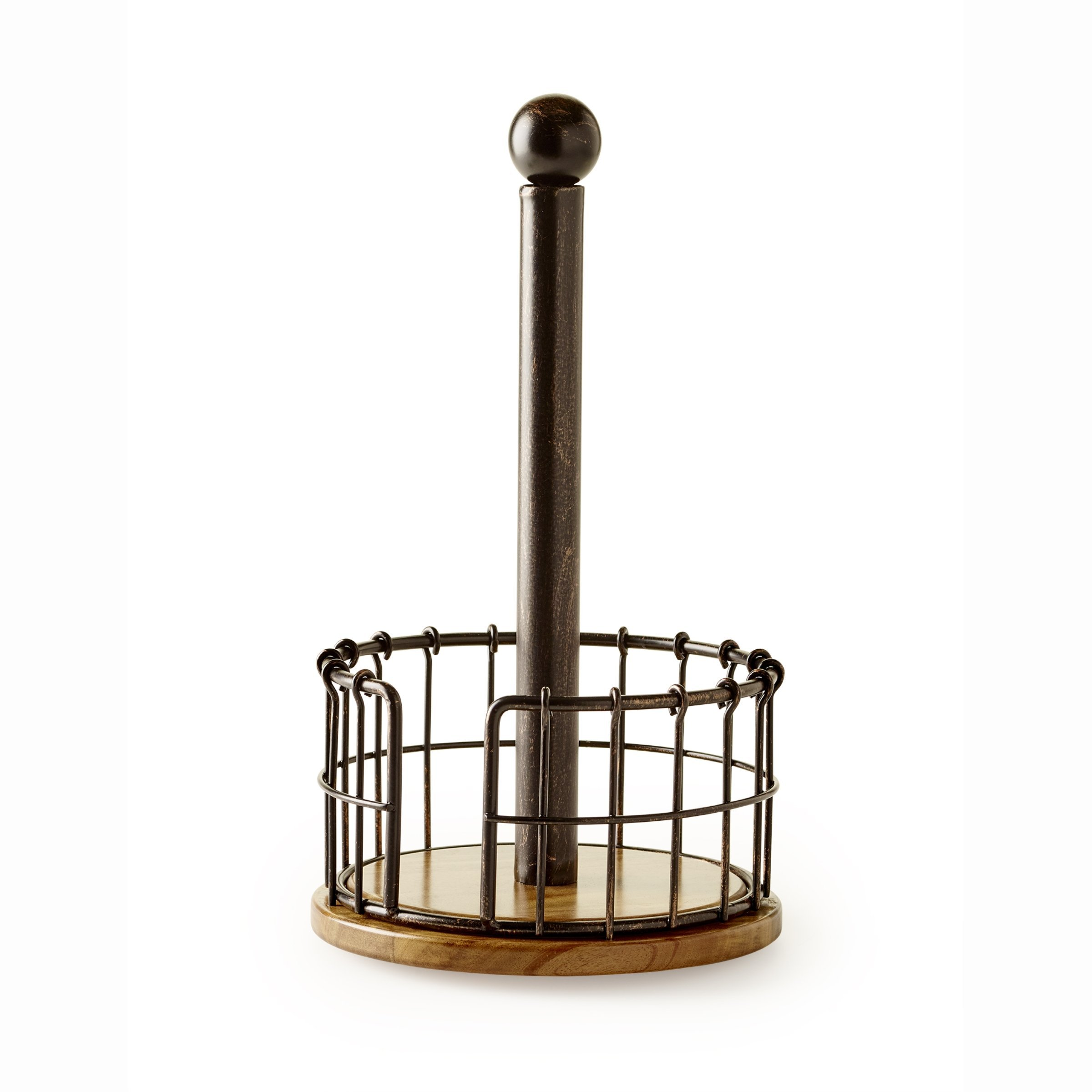 Pfaltzgraff Antique Anvil Cage Wire And Acacia Wood Paper Towel Holder, Black