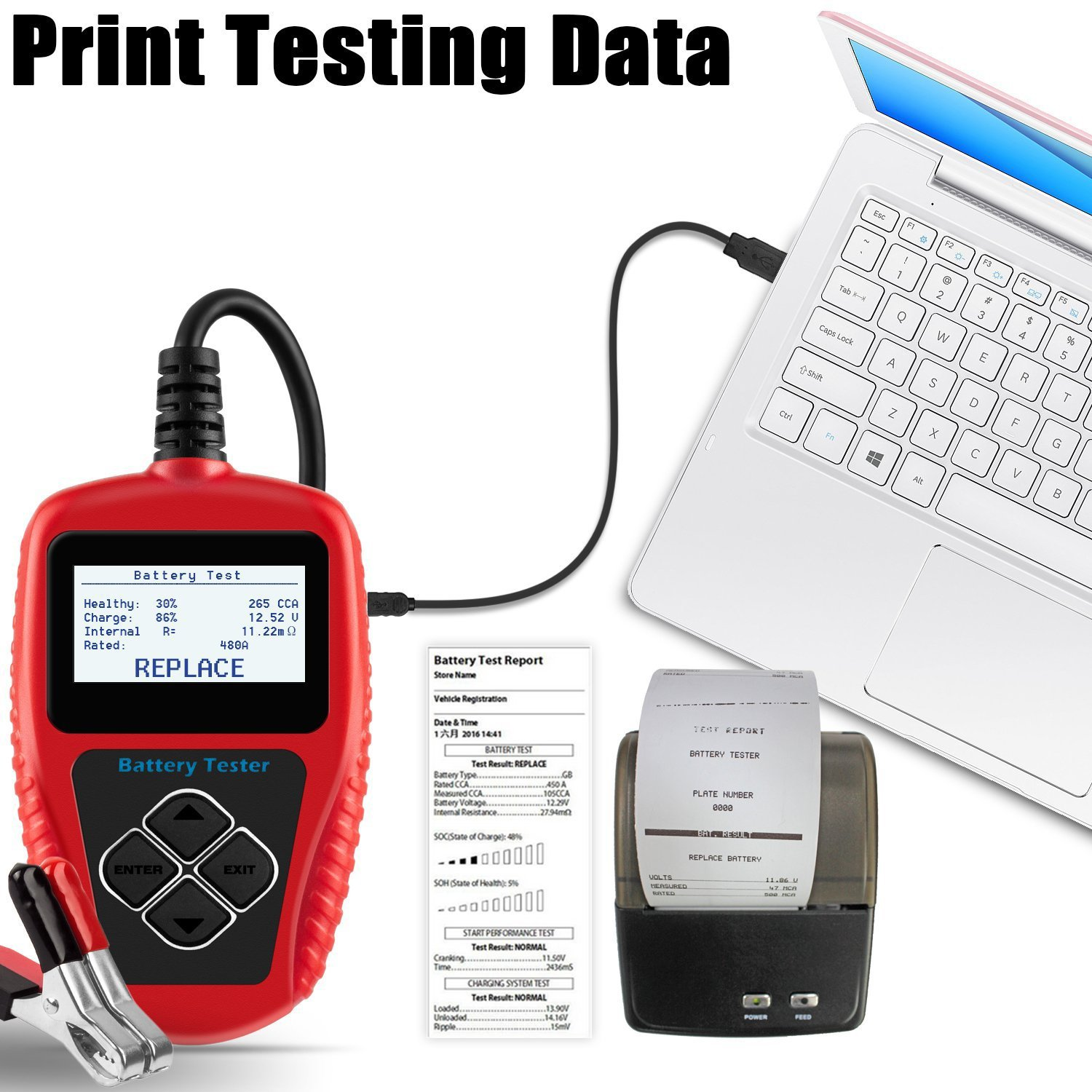 Quicklynks Ba101 Battery Tester 100 2000 Cold Cranking Circuit Manufacturers In Amps 12v Load Directly Test Status Automotive