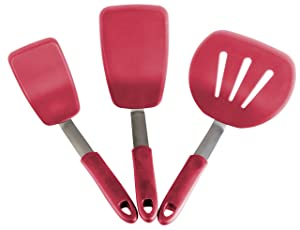StarPack Premium Flexible Silicone Turner Spatula Set of 3 - High Heat Resistant to 600°F, Hygienic One Piece Design, Non Stick Rubber Kitchen Utensils for Fish, Eggs, Pancakes & Cookies (Cherry Red)
