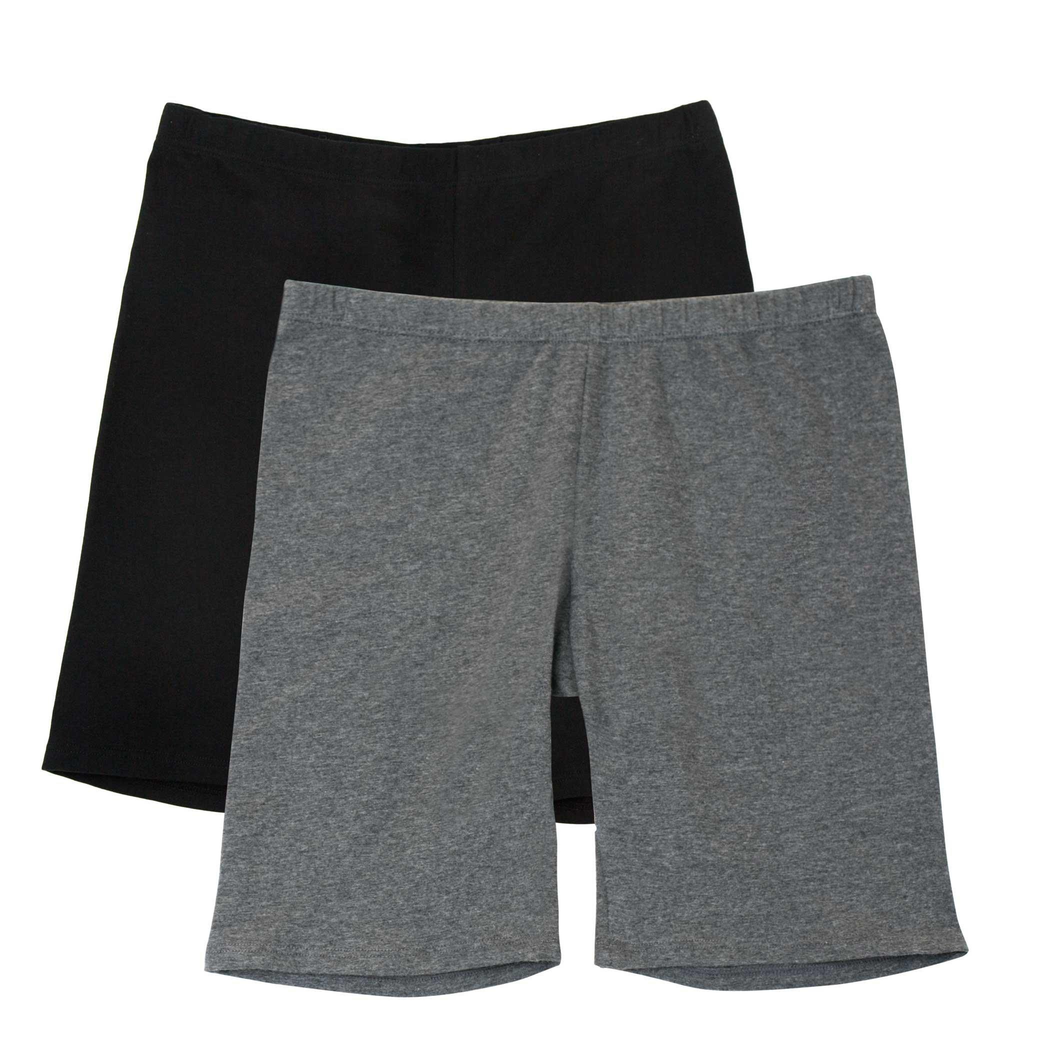 Fruit of the Loom Big Girls' Cotton Under-Skirt Long Short 2 Pack, Black/Charcoal, X-Large