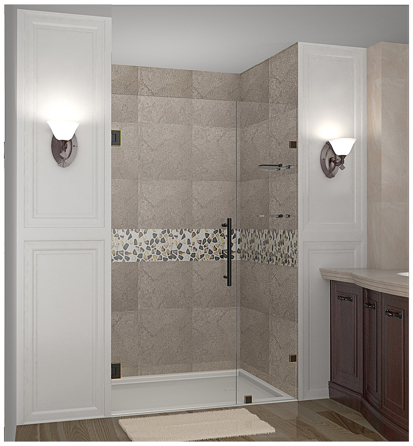 Brushed Stainless Steel Aston Nautis GS 42 x 72 Completely Frameless Hinged Shower Door with Glass Shelves