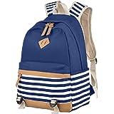 Schulrucksack,Aokey Fashion Mädchen Schulrucksack Damen Canvas Rucksack Teenager Baumwollstoff Streifen Schultasche Daypacks für Universität Outdoor Freizeit