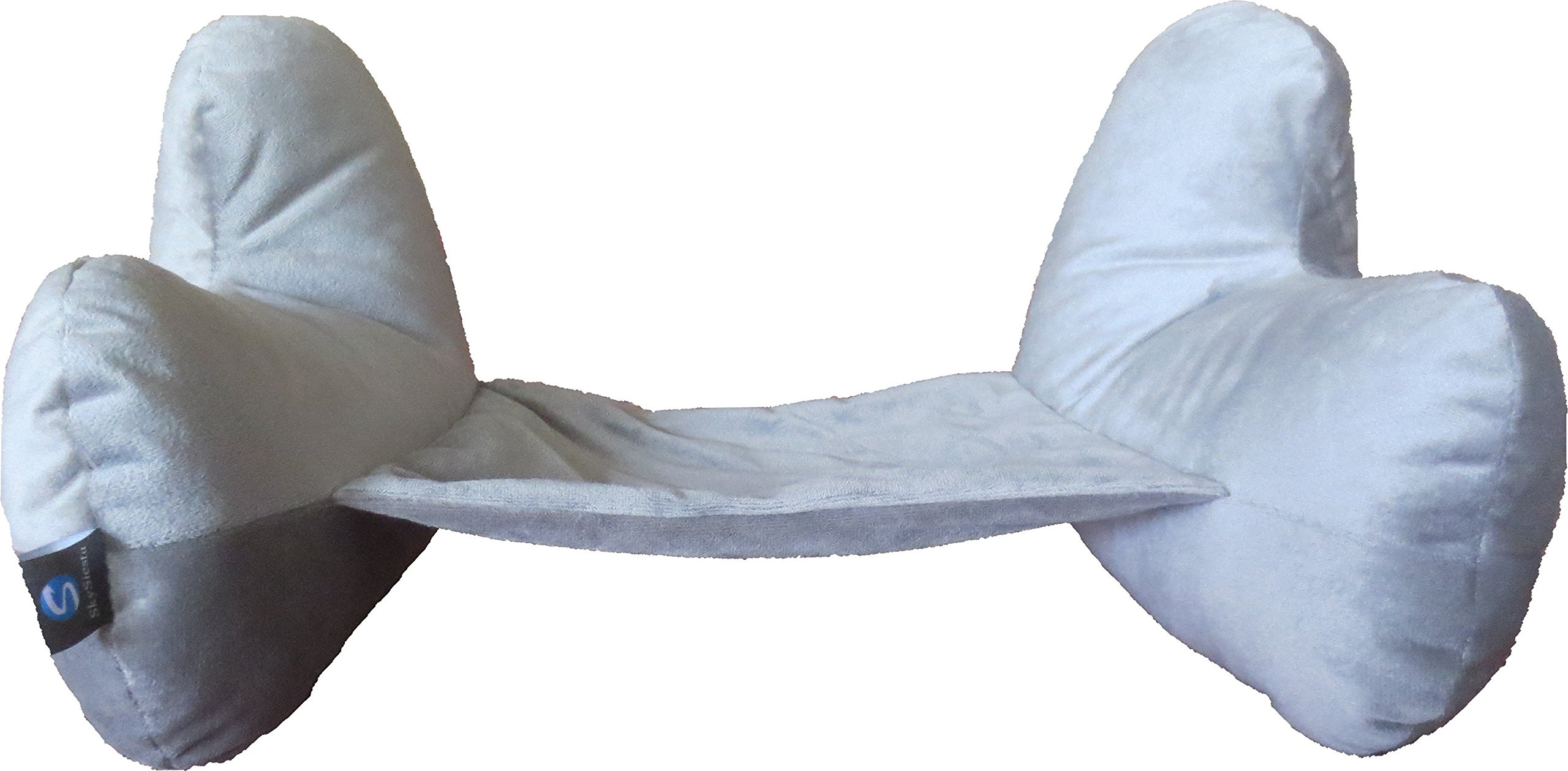 NEW!! SkySiesta SNUG Travel Pillow- Two L-Shaped, Fiber Filled Head Supports, Bag, Eye Mask