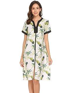 2ddebc5114 Ekouaer Robes for Women Zipper Front V-Neck Short Sleeve Floral Sleepwear  with Pockets S