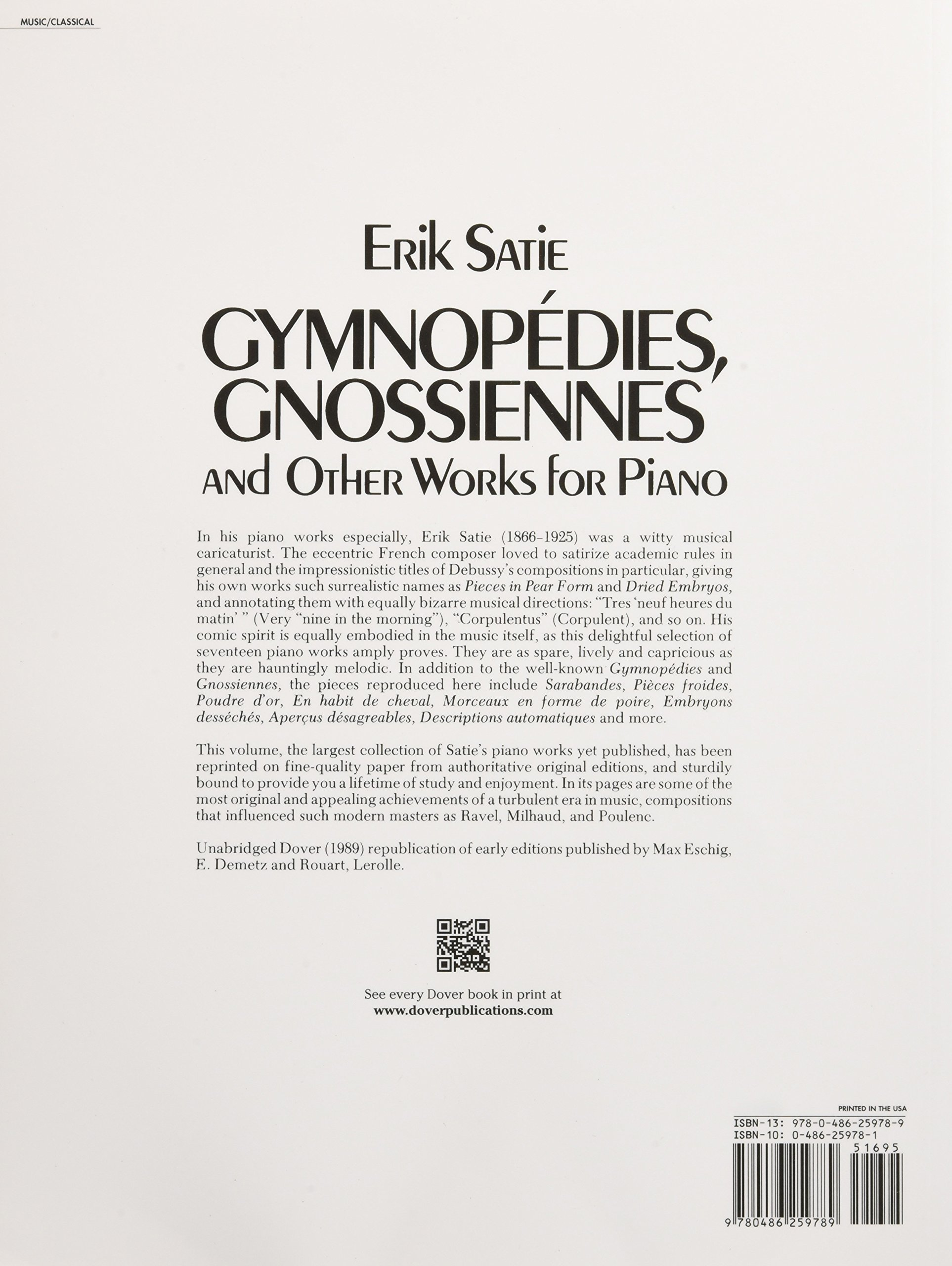 amazon satie gymnopedies gnossiennes and other works for piano