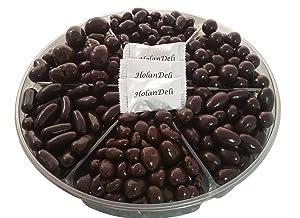 Dark Chocolate Nuts Gift Basket, Almond in Dark Chocolate, Hazelnut in Dark Chocolate, Pistachio in Dark Chocolate, Orange Peel in Chocolate 2.3lb