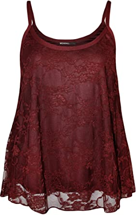 d2ca951bd73 Plus Size Womens Lace Swing Ladies Strappy Sleeveless Camisole Vest Top -  Wine - 16-18  Amazon.co.uk  Clothing