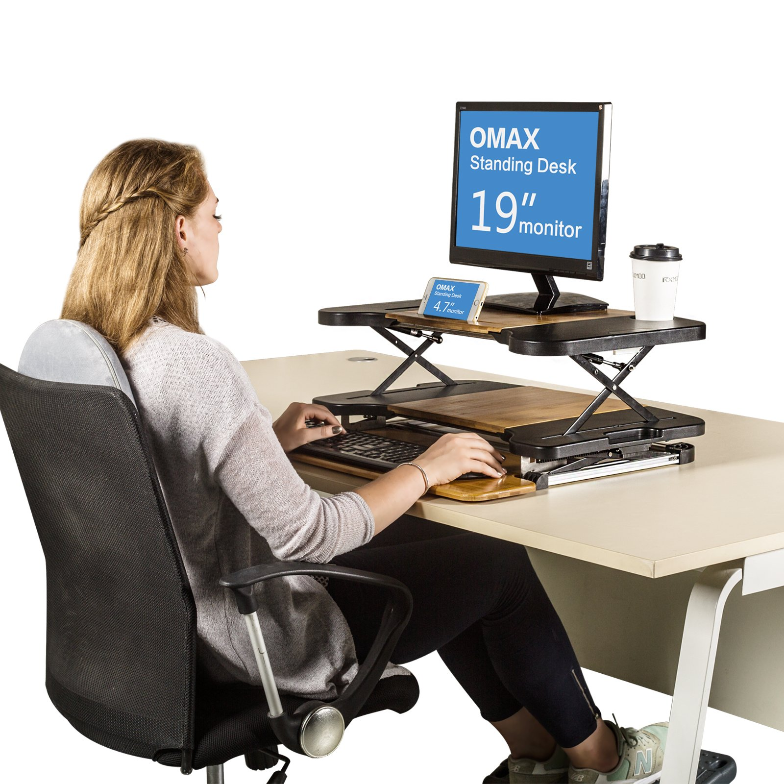 Standing Desk- Omax Heigh Adjustable Desk/Table Comfortable Stand Up Table Removed Computer Laptop Stand Desk Working Table by RXMOO (Image #2)