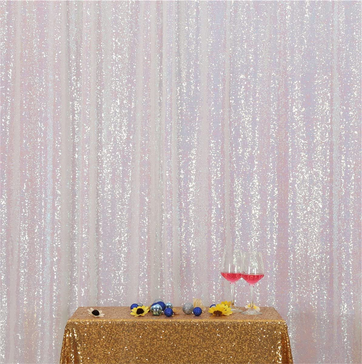 Eternal Beauty Iridescence Sequin Wedding Backdrop Photography Background Party Curtain, 7Ft X 7Ft