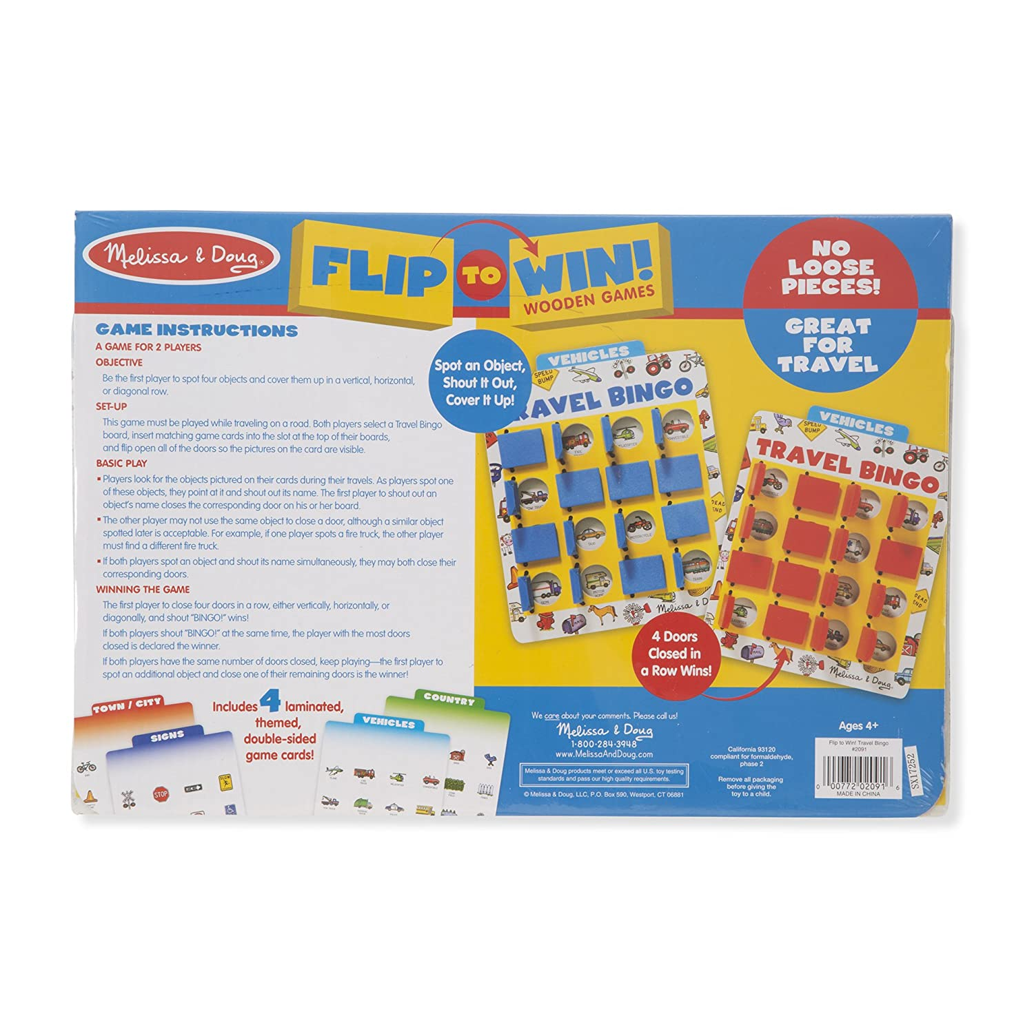 4 Double-Sided Cards 2 Wooden Game Boards Melissa /& Doug Flip to Win Travel Bingo Game