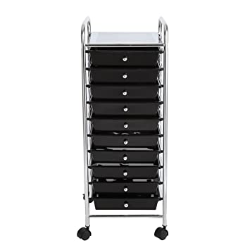 finnhomy 10 drawer rolling cart storage rolling carts with black drawers
