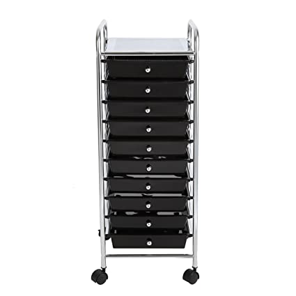 Finnhomy 10 Drawer Rolling Cart, Storage Rolling Carts With  Semi Transparent Black Drawers,
