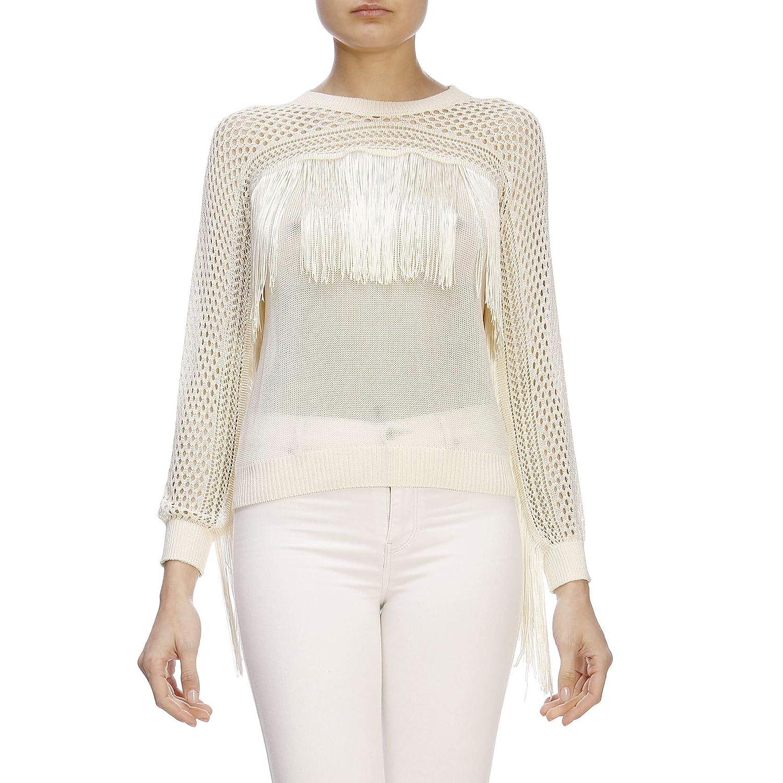 Twin-Set Womens 191TT306300010 White Cotton Sweater