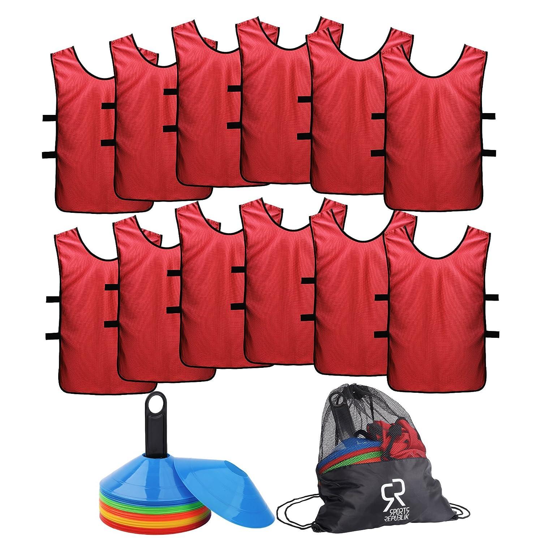 【上品】 SportsRepublik SportsRepublik サッカーコーン(50本セット)とジャージ素材のスポーツビブス(12枚パック)。バスケットボールのドリル練習に最適なディスクコーン B07H2NQR1M。サッカートレーニング備品を補完するにもぴったりです。敏捷さを鍛えるサッカー練習用備品として。 B07H2NQR1M X-Large レッド X-Large, sunny days:dd81d8b4 --- arianechie.dominiotemporario.com