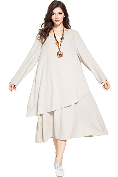 Anysize Double Layered Linen Cotton Dress Fall Winter Plus Size Dress Y88