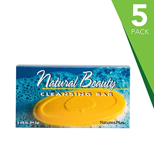 Natures Plus Natural Beauty Cleansing Bar (5 Pack) - 500 IU Vitamin E with Allantoin, 3.5 Ounce Bar - Natural Cleanser, Made with Organic Ingredients, Anti Aging - Vegan