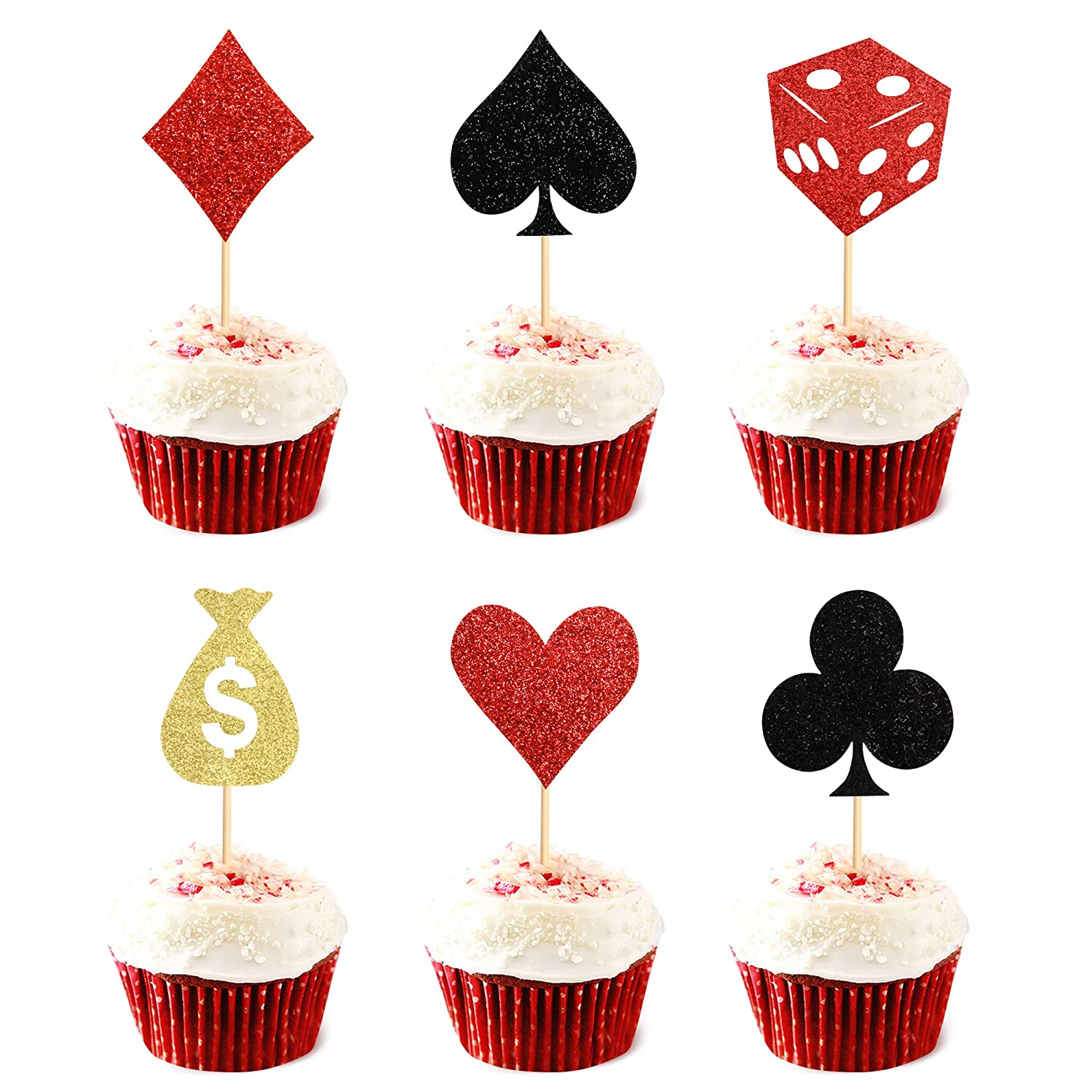 60 pack Poker Heart Cupcake Toppers Casino Playing Cards Vegas Theme Cupcake Toppers Decorations Poker Night Party Supplies