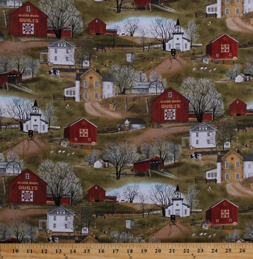 Cotton Amish Farms Farmhouses Barns Village Country Countryside Rural Quilt Shops Churches Farm Animals Cows Chickens Geese Scenic Folk Art Headen' Home Cotton Fabric Print by The Yard (4701green)