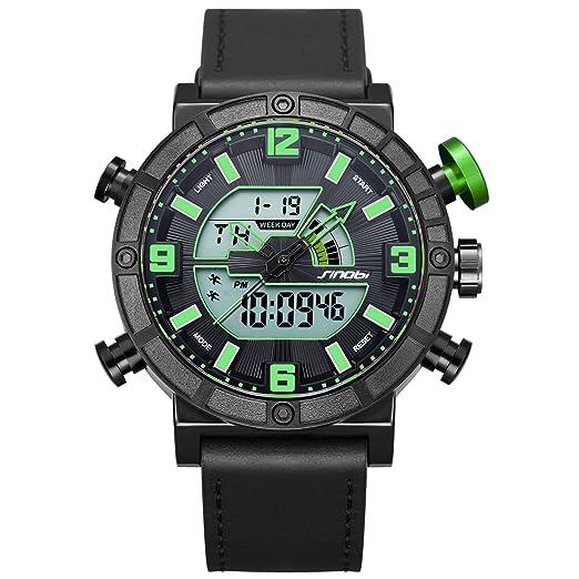 SINOBI Reloj analógico de cuarzo digital multifunción para hombre con piel suave y retroiluminación LED: Amazon.es: Hogar