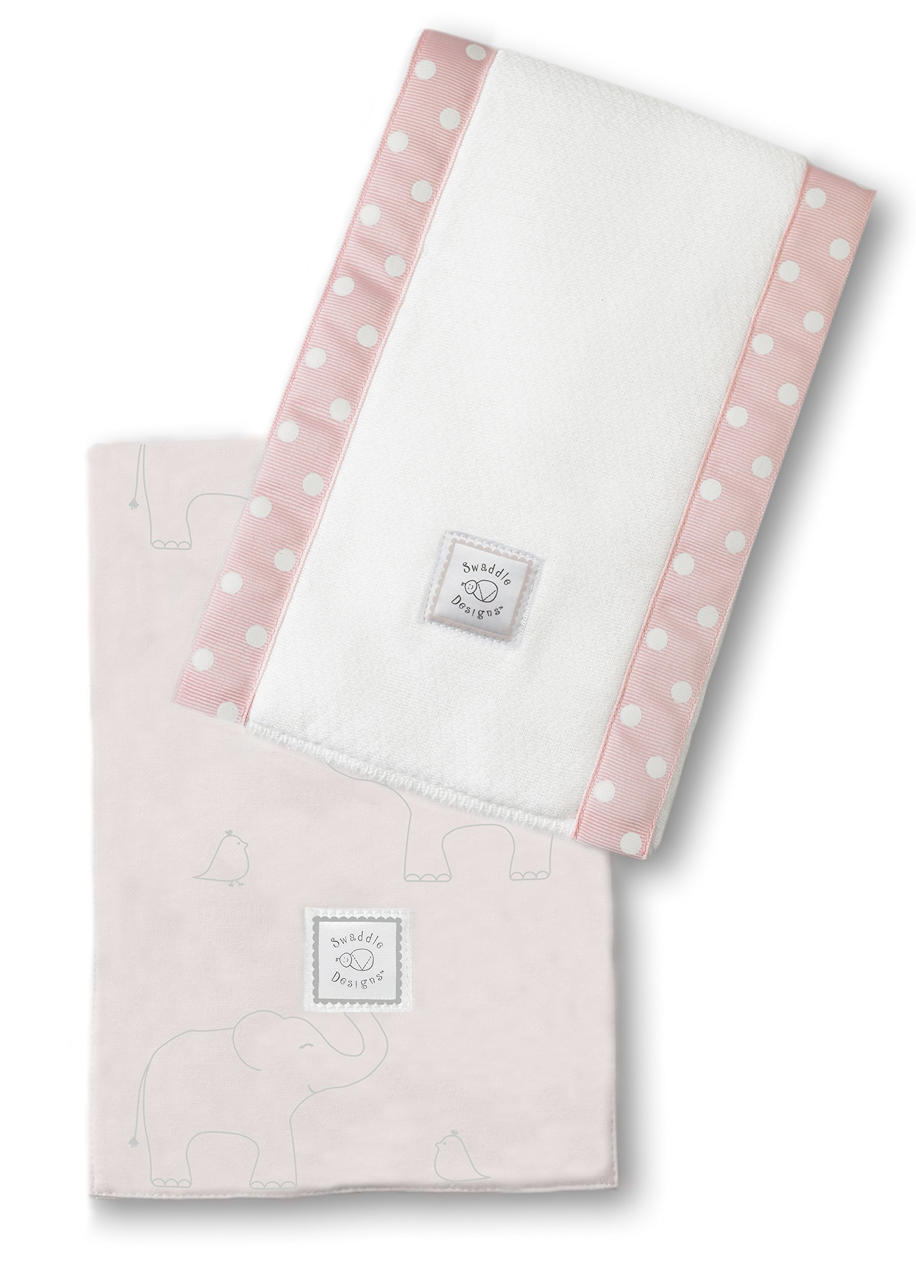 SwaddleDesigns Baby Burpies, Set of 2 Cotton Burp Cloths, Sterling Deco Elephants on Sunwashed Pink