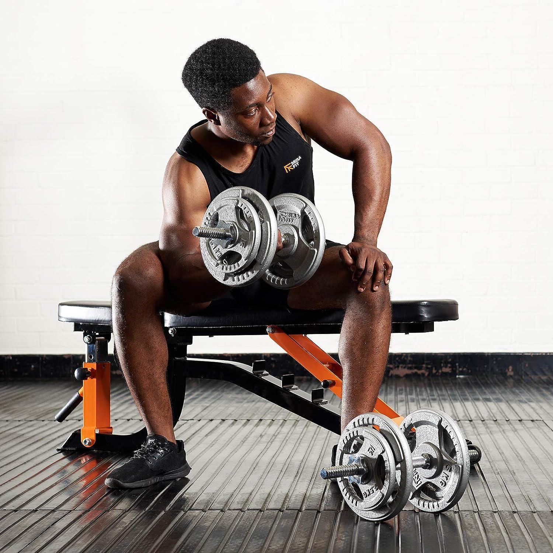 """18/"""" Chrome Dumbbell Bar Home Indoor Fitness Dumbbell Bar Spin Lock Collar Set UK"""
