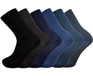 6-11 3 Pairs Of Mens Bamboo Loose Top Socks Super Soft Anti Bacterial Socks