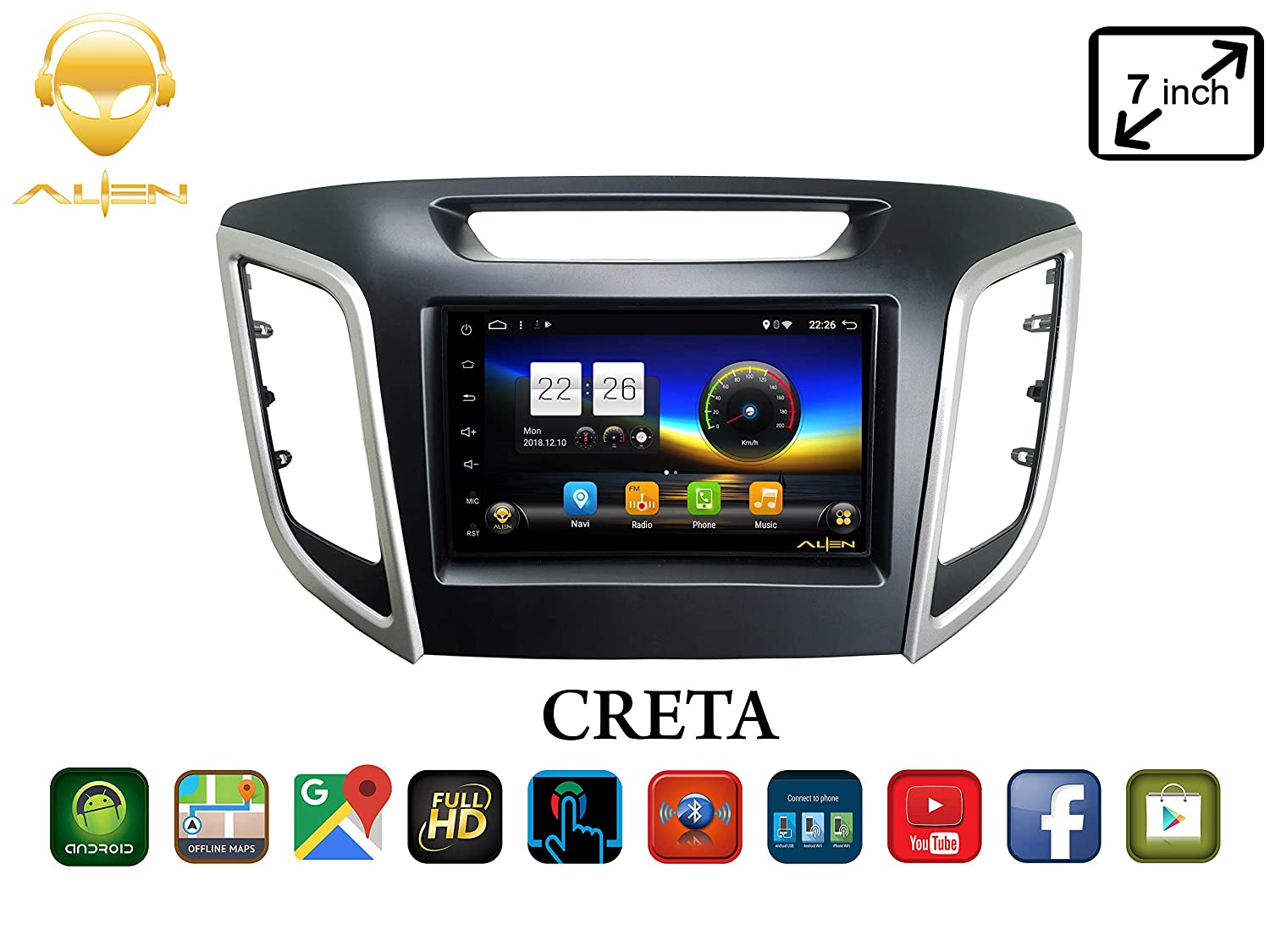 ALIEN 7 1inch 4K Display Hyundai Creta Full Touch Car